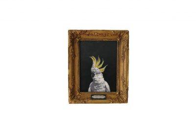 Big Parrot is Watchin II, oil on wood, 25 x 3I,5 cm, 2018