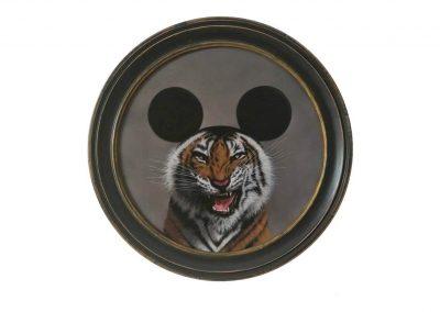 Mickey Tiger, oil on wood, 60 ø cm, 2019