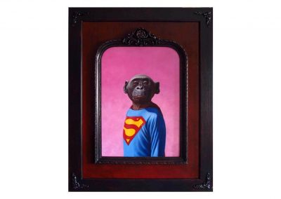 Superchimpanzee, oil on wood, 70,5 x 90,5 cm, 2014