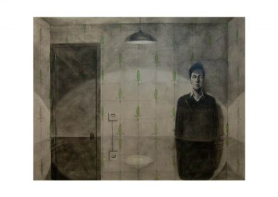 13-REM XII, pencil on paper over wood, 114 x 146 cm, 2002
