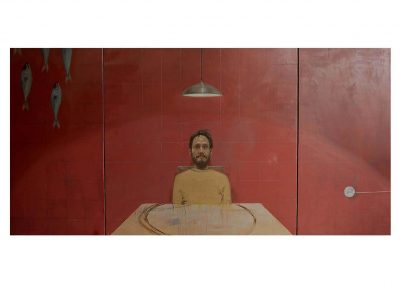 14-ID vs EGO, oil on wood, 100 x 200 cm tryptich, 2005