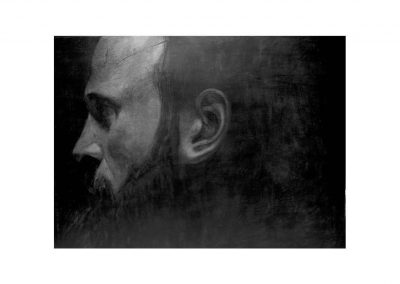 24-Autorretrato, Charcoal on paper over wood, 80 x 100 cm, 2005