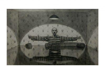 27-REM XX, pencil on paper over wood, 110 x 200 cm, 2004
