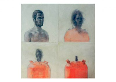 5-Homenaje a Francis Bacon II, mixed media, 100 x 100 cm, 1999