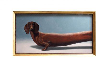 Dachshund, oil on wood, díyptich 130 x 68,5 cm each, 2018